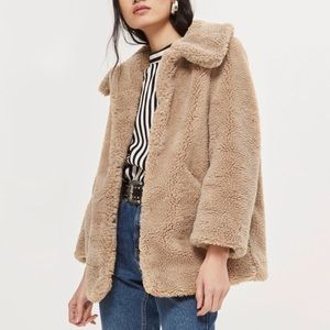 Topshop Tan Teddy Coat Size US Size 8